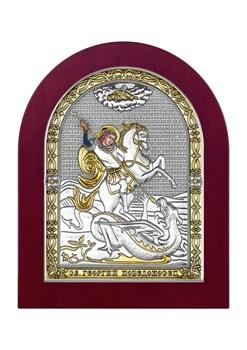 Георгий Победоносец, серебряная икона деревянный оклад - фото 7553