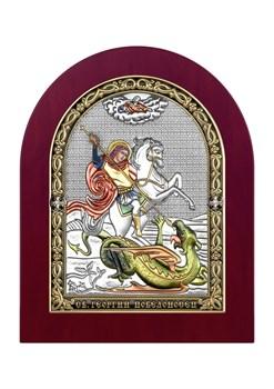 Георгий Победоносец, серебряная икона деревянный оклад цветная эмаль - фото 7556