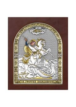 Георгий Победоносец, серебряная икона деревянный оклад с магнитом - фото 7558