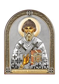 Спиридон Тримифунтский, серебряная икона с позолотой и цветной эмалью - фото 7564