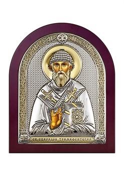 Спиридон Тримифунтский, серебряная икона деревянный оклад - фото 7567