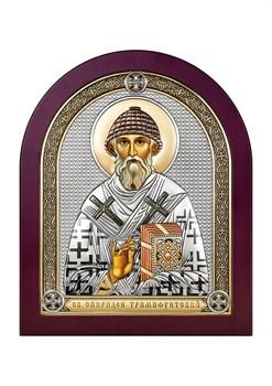 Спиридон Тримифунтский, серебряная икона деревянный оклад цветная эмаль - фото 7570