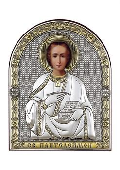 Пантелеймон целитель, серебряная икона с позолотой - фото 7575