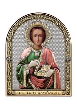 Пантелеймон целитель, серебряная икона с позолотой и цветной эмалью - фото 7578