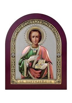 Пантелеймон целитель, серебряная икона деревянный оклад цветная эмаль - фото 7583