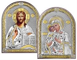 Венчальная пара серебряные иконы с позолотой (Владимирская) - фото 7597
