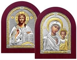 Венчальная пара, серебряные иконы с позолотой в деревянной рамке (Казанская) - фото 7608