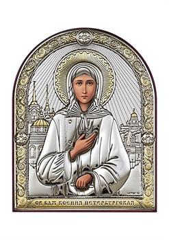 Ксения Петербургская, серебряная икона с позолотой - фото 7626