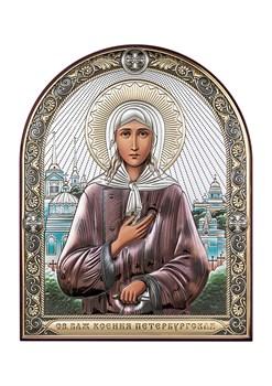 Ксения Петербургская, серебряная икона с позолотой и цветной эмалью - фото 7629