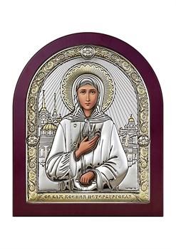 Ксения Петербургская, серебряная икона деревянный оклад - фото 7632