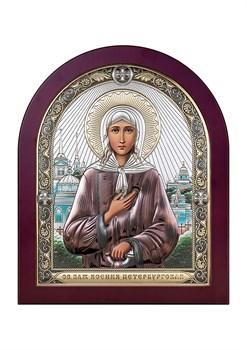Ксения Петербургская, серебряная икона деревянный оклад цветная эмаль - фото 7635