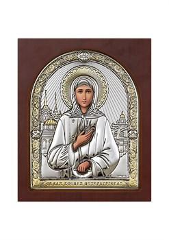 Ксения Петербургская, серебряная икона деревянный оклад с магнитом - фото 7637