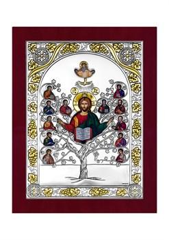 Спас Древо Жизни, серебряная икона с позолотой в деревянной рамке - фото 7652