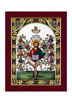 Спас Древо Жизни, серебряная икона с позолотой и цветной эмалью в деревянной рамке - фото 7654