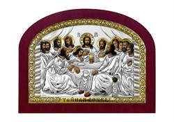 Тайная вечеря, серебряная икона с позолотой в деревянной рамке - фото 7656