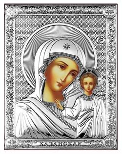 Казанская Божия Матерь, серебряная икона на дереве (Beltrami) - фото 7664