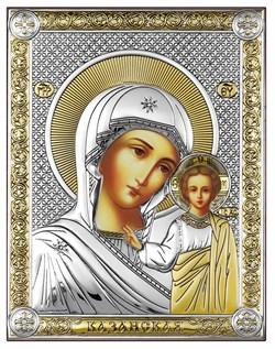 Казанская Божия Матерь, серебряная икона с позолотой, рамка-магнит (Beltrami) - фото 7666