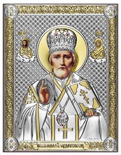 Николай Чудотворец, серебряная икона с позолотой на дереве (Beltrami) - фото 7668