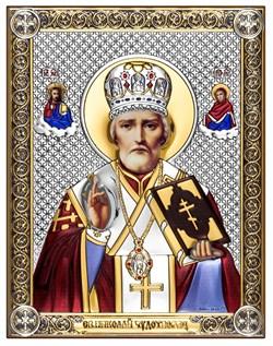 Николай Чудотворец, серебряная икона с позолотой и цветной эмалью на дереве (Beltrami) - фото 7670