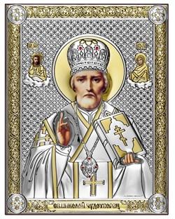 Николай Чудотворец, серебряная икона с позолотой, рамка-магнит (Beltrami) - фото 7674