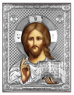 Господь Вседержитель, серебряная икона на дереве (Beltrami) - фото 7680