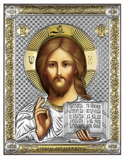 Господь Вседержитель, серебряная икона с позолотой, рамка-магнит (Beltrami) - фото 7682