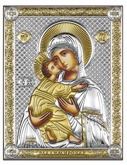 Владимирская Божия Матерь, серебряная икона с позолотой на дереве (Beltrami) - фото 7684