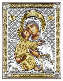 Владимирская Божия Матерь, серебряная икона с позолотой рамка-магнит (Beltrami) - фото 7692