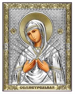 Семистрельная Божия Матерь, серебряная икона с позолотой на дереве (Beltrami) - фото 7694