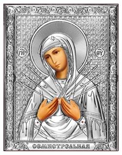 Семистрельная Божия Матерь, серебряная икона на дереве (Beltrami) - фото 7698