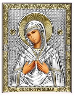 Семистрельная Божия Матерь, серебряная икона с позолотой рамка магнит (Beltrami) - фото 7700