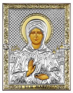 Матрона Московская, серебряная икона с позолотой на дереве (Beltrami) - фото 7702