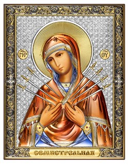 Семистрельная Божия Матерь, серебряная икона с позолотой и цветной эмалью на дереве (Beltrami) - фото 7704
