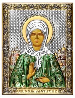 Матрона Московская, серебряная икона с позолотой и цветной эмалью на дереве (Beltrami) - фото 7706