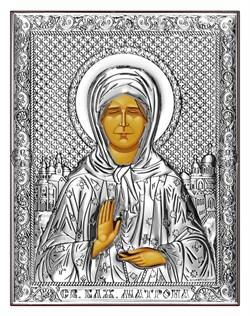 Матрона Московская, серебряная икона на дереве (Beltrami) - фото 7708