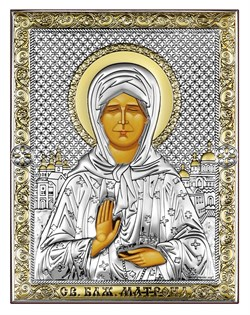 Матрона Московская, серебряная икона с позолотой, рамка-магнит (Beltrami) - фото 7710