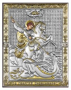 Георгий Победоносец, серебряная икона с позолотой рамка-магнит (Beltrami) - фото 7718