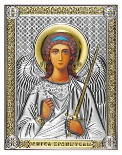Ангел Хранитель, серебряная икона с позолотой на дереве (Beltrami) - фото 7720