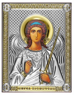 Ангел Хранитель, серебряная икона с позолотой, рамка-магнит (Beltrami) - фото 7726