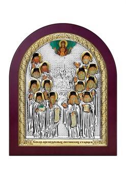Собор Оптинских старцев, серебряная икона деревянный оклад - фото 7732