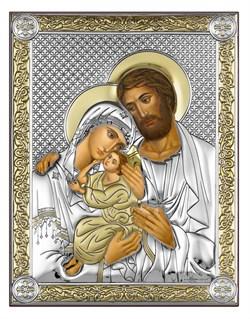 Святое Семейство, серебряная икона с позолотой на дереве (Beltrami) - фото 7735
