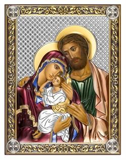 Святое Семейство, серебряная икона с позолотой и цветной эмалью на дереве (Beltrami) - фото 7737