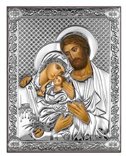 Святое Семейство, серебряная икона на дереве (Beltrami) - фото 7739