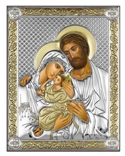 Святое Семейство, серебряная икона с позолотой, рамка-магнит (Beltrami) - фото 7741
