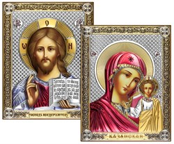 Венчальная пара, серебряные иконы с позолотой и цветной эмалью, лик шелкография (Казанская) - фото 7765