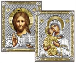 Венчальная пара, серебряные иконы с позолотой, лик шелкография (Владимирская) - фото 7773