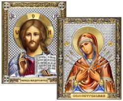 Венчальная пара, серебряные иконы с позолотой и цветной эмалью, лик шелкография (Семистрельная) - фото 7777