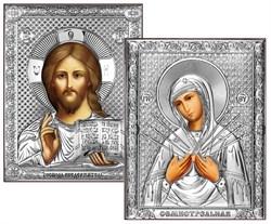 Венчальная пара, серебряные иконы, лик шелкография (Семистрельная) - фото 7781