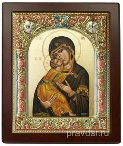 Владимирская Божья Матерь, икона 14х17 см,шелкография, серебряный оклад, золочение, цветная эмаль, кристаллы Swarovski - фото 7843