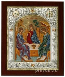 Святая Троица, икона 14х17 см, шелкография, серебряный оклад, золочение, кристаллы Swarovski - фото 7857